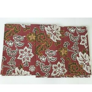 World Market Burgundy Floral Curtain Set 42 X 84